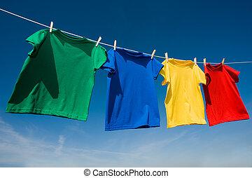 primario, colorato, t-shirts, clothesline