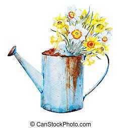 primavera, acquarello, fiori