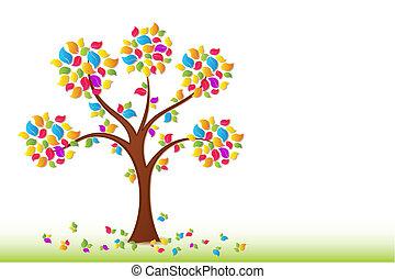 primavera, albero, colorito