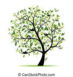 primavera, albero, tuo, verde, disegno, uccelli