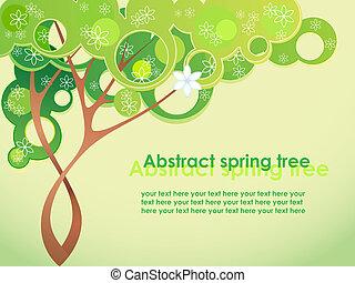 primavera, astratto, fiori, albero