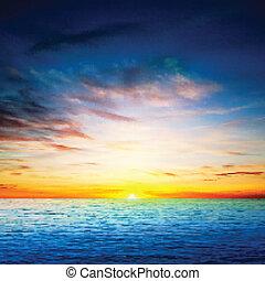 primavera, astratto, mare, fondo, alba