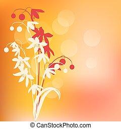 primavera, astratto, riscaldare, fondo, fiori, contorno