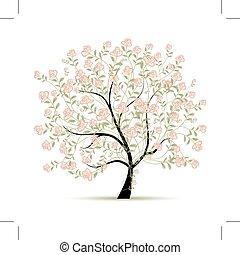 primavera, disegno, albero, tuo, rose