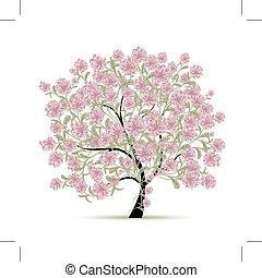 primavera, disegno, fiori, albero, tuo