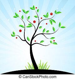 primavera, disegno, tuo, albero