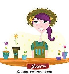primavera, donna, fiori, giardino