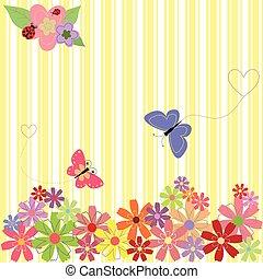 &, primavera, farfalle, sfondo giallo, fiori, striscia
