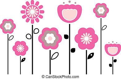 primavera, fiori bianchi, isolato, retro