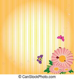 primavera, fiori, farfalle, fondo, striscia gialla, &