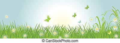 primavera, orizzontale, bandiera