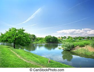 primavera, paesaggio fiume