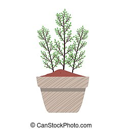 primavera, pianta in vaso, grigio, ceramica, natura, icona, stagione, casa