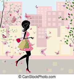 primavera, ragazza, shopping