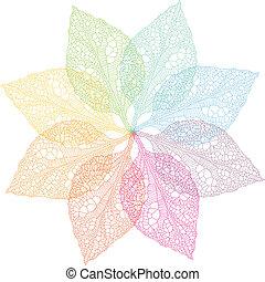 primavera, vettore, colorito, foglie