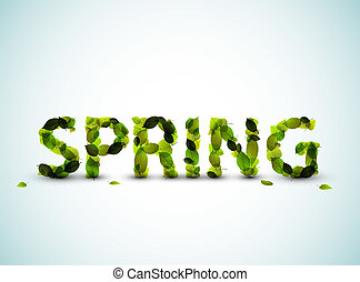 primavera, vettore, illustrazione, iscrizione