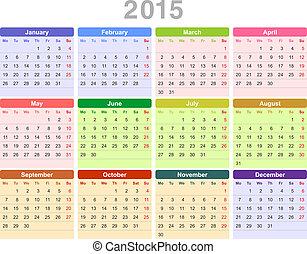 primo, annuale, (monday, english), anno, 2015, calendario