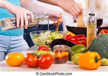 primo piano, cibo, coppia, cottura, insieme, insieme., preparare