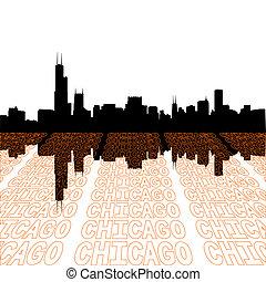 primo piano, contorno, chicago, testo, orizzonte, prospettiva