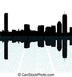 primo piano, contorno, testo, orizzonte, prospettiva, boston