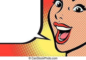 primo piano, donna, arte, pop, faccia, sorriso