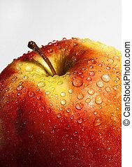 primo piano, gocce, mela, rosso, succoso