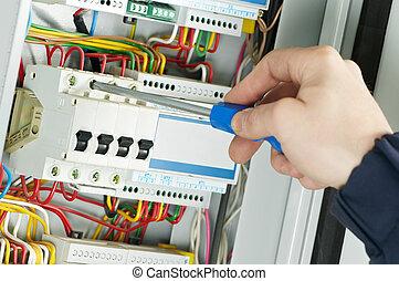 primo piano, lavoro, elettricista