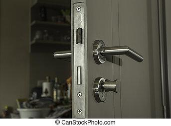 primo piano, manico, stanza, serratura, faccia, porta, argento