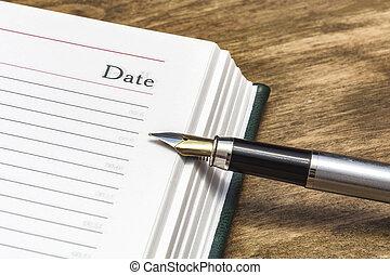 primo piano, parola, diario, data, penna fontana, aperto, pagina