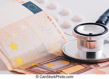 primo piano, stetoscopio, protezione, currencies., medico, carta, insurance.