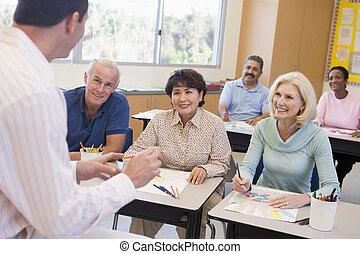 primo piano, studenti, immagini, classe, disegno, adulto, focus), (selective, insegnante
