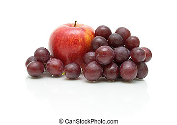 primo piano, uva bianca, mela, fondo