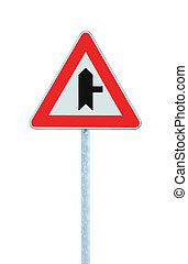 principale, isolato, segno, polo, avvertimento, destra, incrocio, strada