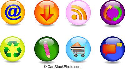 principale, set, icone