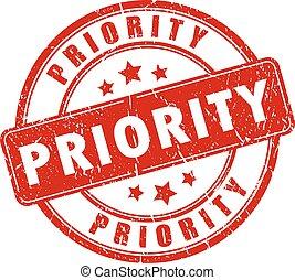 priorità, bollo gomma