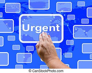 priorità, schermo, consegna, urgente, tocco, velocità, o, mostra