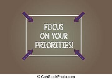 priorities., esposizione, quadrato, basato, contorno, indicare, fotografie a colori, fare, frecce, fuoco, segno, fondo., importante, testo, inwards, cose, concettuale, angolo, tuo, piano