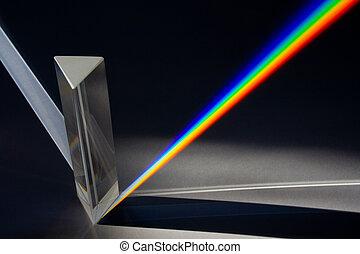 prisma, attraverso, spettro, luce sole