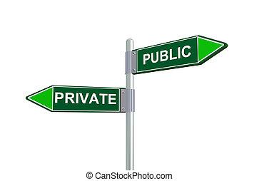 privato, 3d, pubblico, segno strada