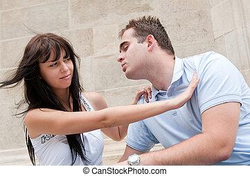 problemi rapporto, coppia, -, giovane, fuori