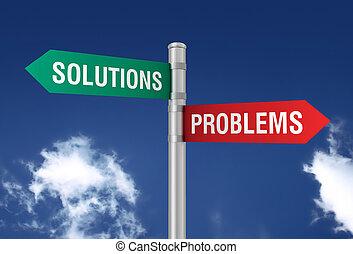 problemi, soluzioni, segno strada