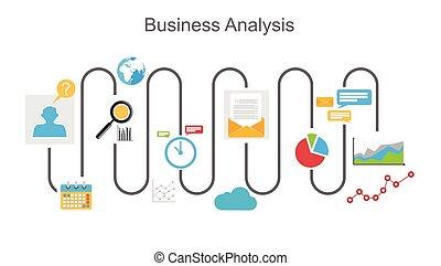 processo, concetto, affari, analisi, illustration.
