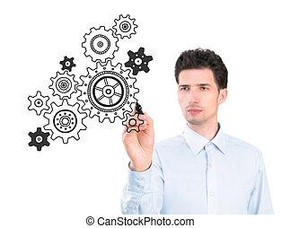 processo, schizzo, concetto, affari