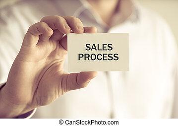 processo, vendite, presa a terra, uomo affari, messaggio, scheda