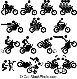 prodezza, audace, motocicletta, icona