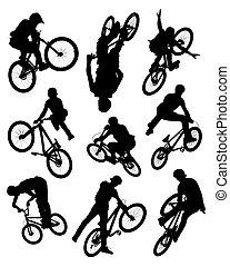 prodezza, silhouette, bicicletta