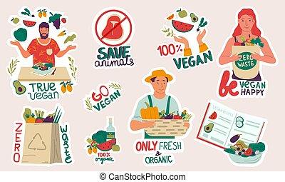 prodotti, fruits., crescente, mangiare, riciclare, set, borse, cuoco, riutilizzabile, vettore, stickers., eco, spreco, agricoltura, vegetariani, ecologico, organico, verdura, vegan, persone, lifestyle., zero