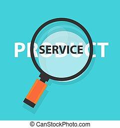 prodotto, concetto, servizio, affari, simbolo, analisi, o, vetro, ingrandendo