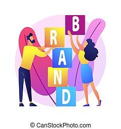 prodotto, costruzione, concetto, marca, vettore, metaphor.