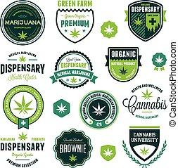 prodotto, etichette, marijuana
